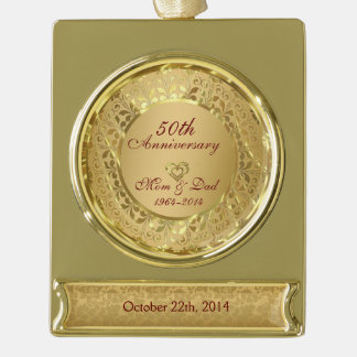Sparkling Gold 50th Wedding Anniversary Gold Plated Banner Ornament