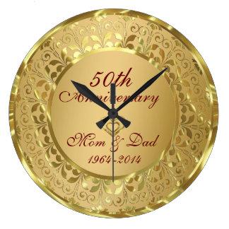 Sparkling Gold 50th Wedding Anniversary Large Clock