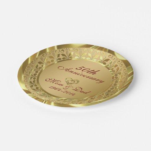 Sparkling Gold 50th Wedding Anniversary Paper Plate Zazzle