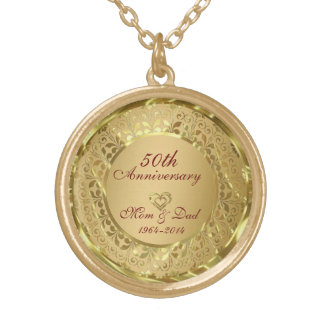 Sparkling Gold 50th Wedding Anniversary Round Pendant Necklace