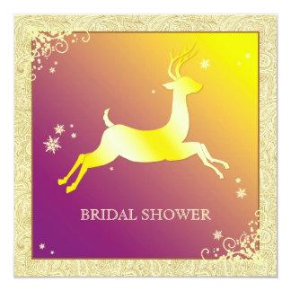 Sparkling Gold Caribou Winter Bridal Shower Card