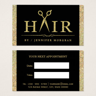 Sparkling Gold Glitter Hair Salon Appointment Card