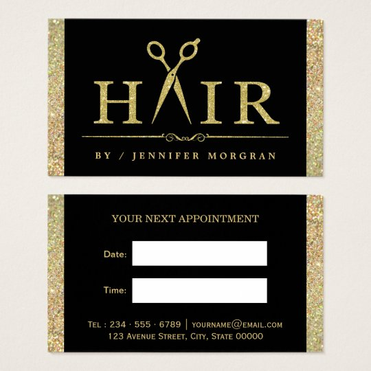 sparkling gold glitter hair salon appointment card - Nail Salon Logo Design Ideas