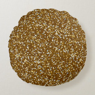 Sparkling Gold Glitter Round Pillow