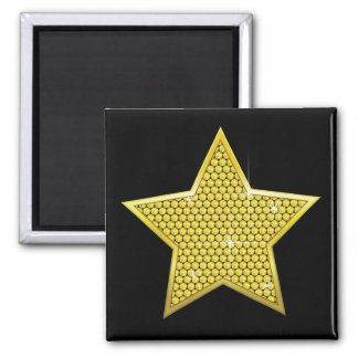 Sparkling Gold Star 2 Inch Square Magnet