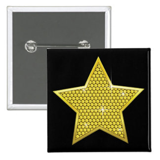 Sparkling Gold Star Pinback Button