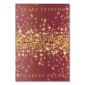 Sparkling Gold Stars on Dusty Rose Name Cards