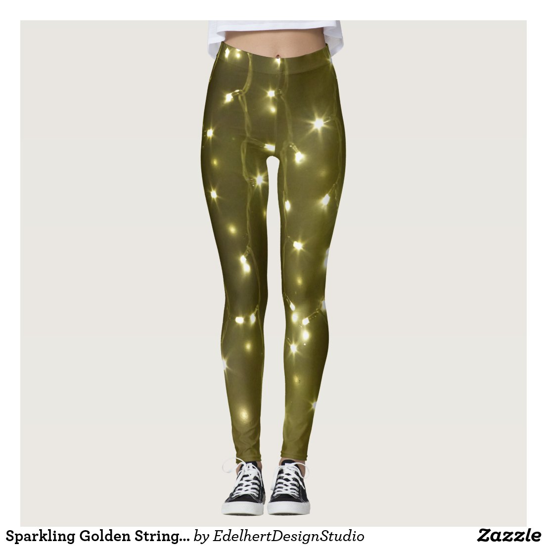 Sparkling Golden String of Lights Legging