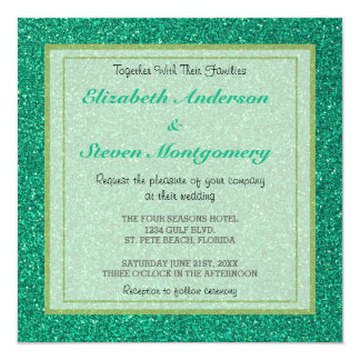 "Sparkling Green Glitter Texture Wedding 5.25"" Square Invitation Card"