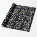 Sparkling  Happy New Year on Confetti Gift Wrapping Paper