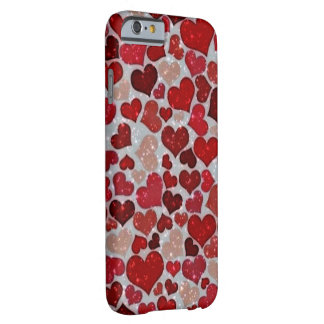 sparkling hearts, red barely there iPhone 6 case
