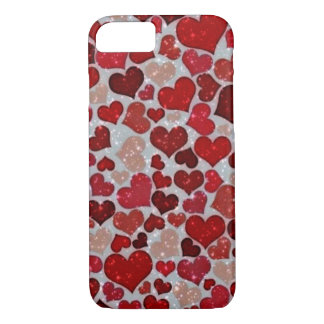 sparkling hearts, red iPhone 7 case