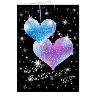 Sparkling Hearts Valentine's Day Greeting Card