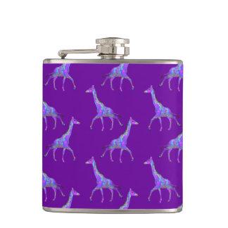 Sparkling Hippie Style Purple Giraffe Hip Flask