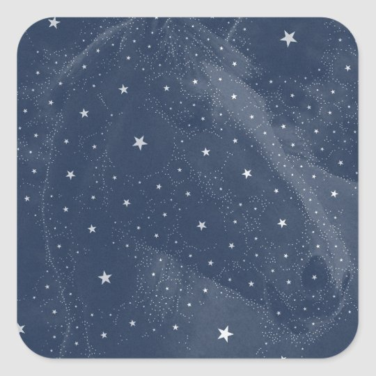 Sparkling Horse Constellation Stars Midnight Blue Square Sticker