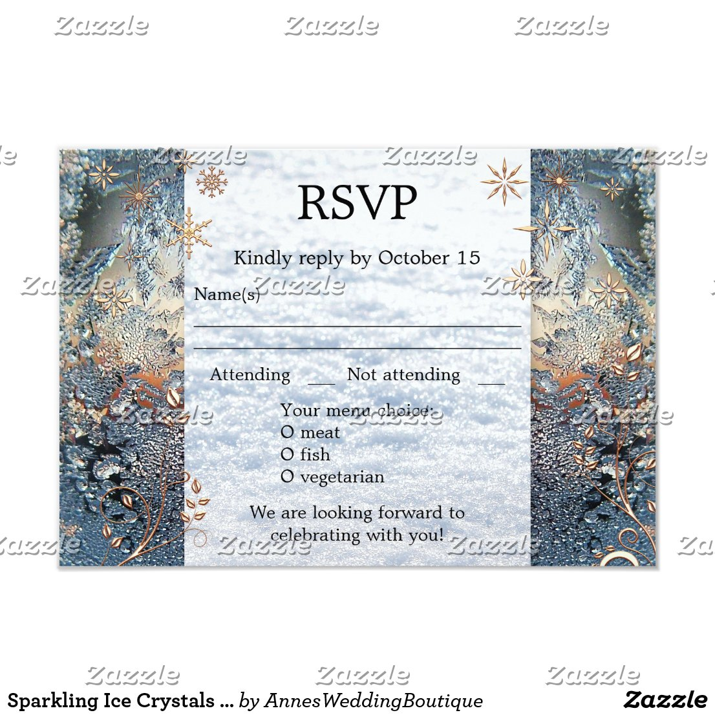Sparkling Ice Crystals Winter Wedding RSVP Card