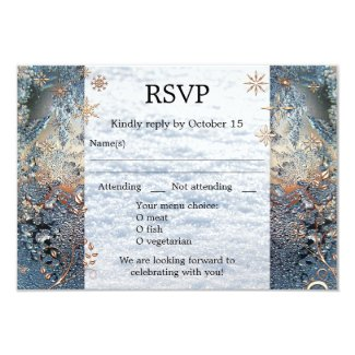 Sparkling Ice Crystals Winter Wedding RSVP Card