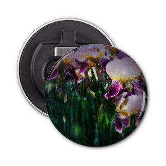 Sparkling Irises Button Bottle Opener