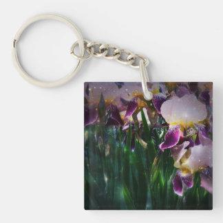 Sparkling Irises Keychain