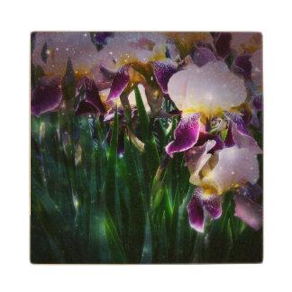 Sparkling Irises Wood Coaster