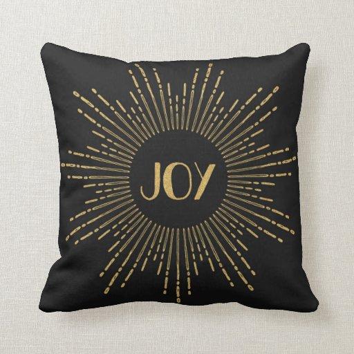Joy Throw Pillow : Sparkling Joy Sunburst Throw Pillow / Black Gold Zazzle