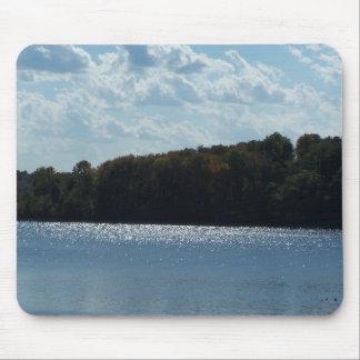 Sparkling Lake, Sky&Fall Trees Mouse Pad