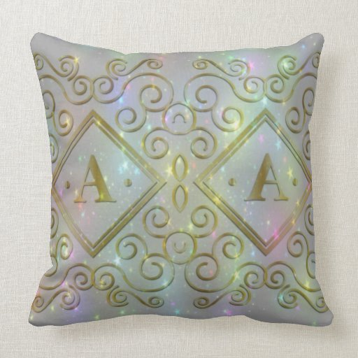 sparkling letter a Throw Pillow Zazzle