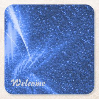 sparkling lights blue square paper coaster