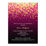 Sparkling lights burgundy wedding couple's shower card