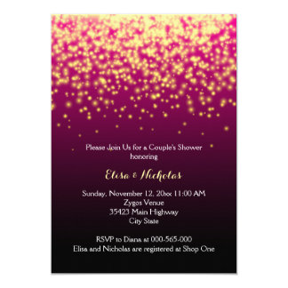 Sparkling lights burgundy wedding couple's shower card