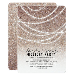 Sparkling Lights Chic Glitter Holiday Party Invite