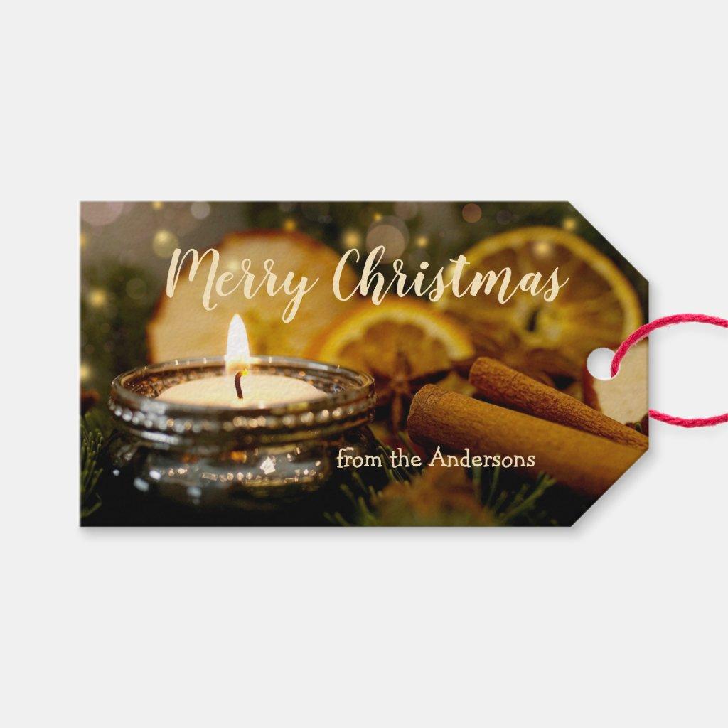 Sparkling Lights Cinnamon Merry Christmas Gift Tag