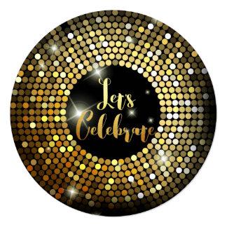 Sparkling Lights Gold Glitter Night Party Invites