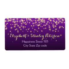Sparkling lights in the sky purple wedding custom shipping label