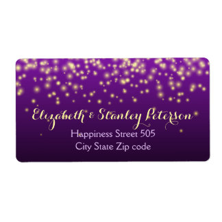 Sparkling lights in the sky purple wedding label