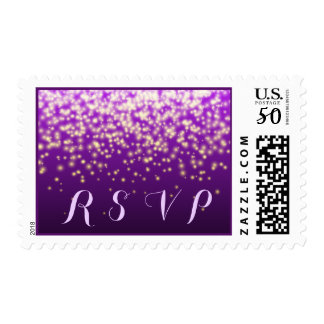 Sparkling lights in the sky purple wedding RSVP Postage
