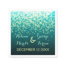 Sparkling lights in the sky teal, aqua wedding paper napkins