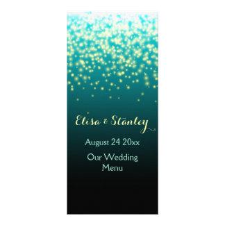 Sparkling lights in the sky teal wedding menu