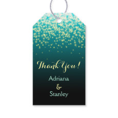 Sparkling lights in the sky teal wedding Thank You Pack Of Gift Tags
