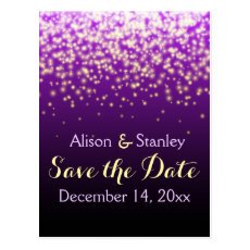 Sparkling lights in the sky wedding Save the Date Postcard