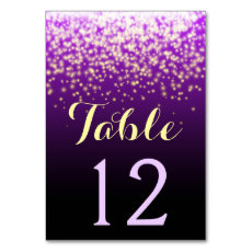Sparkling lights in the sky wedding table number table cards