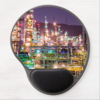 Sparkling Lights Oil Refinery Night Scene Gel Mouse Pad
