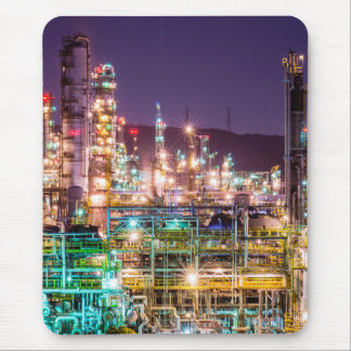 Sparkling Lights Oil Refinery Night Scene Mouse Pad