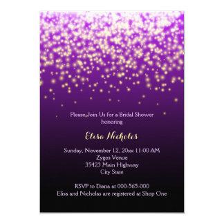 Sparkling lights purple wedding bridal shower 5x7 paper invitation card