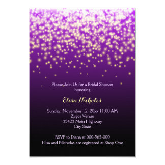 Sparkling lights purple wedding bridal shower card