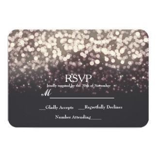 Sparkling Lights Romantic Grey Modern Wedding RSVP Card
