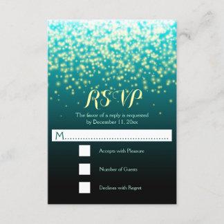 Sparkling lights teal blue and aqua wedding RSVP