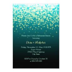 Sparkling lights teal wedding rehearsal dinner 5