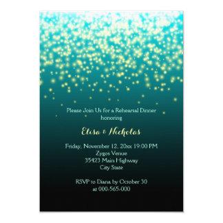 Sparkling lights teal wedding rehearsal dinner invitation