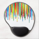 "Sparkling Liquid Rainbow Gel Mouse Pad<br><div class=""desc"">Very cool and unique design featuring lines of rainbow-colors ending in shiny droplets with tiny dots of light with slight drop shadow effect on a transparent background.</div>"